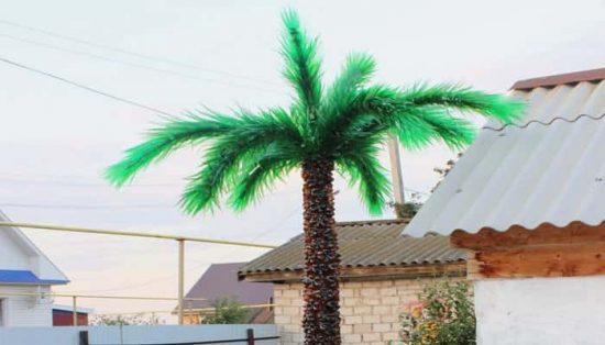 пальма из бутылок для украшения дачи